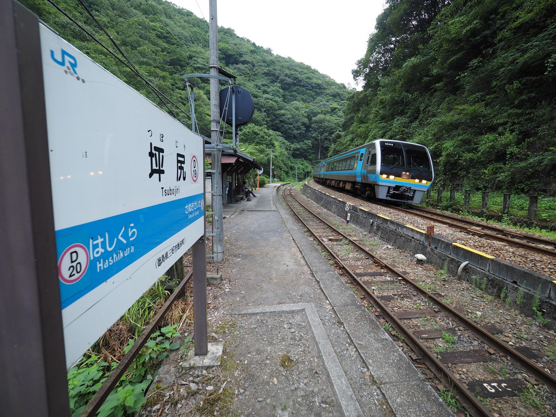 坪尻駅を通過する特急南風