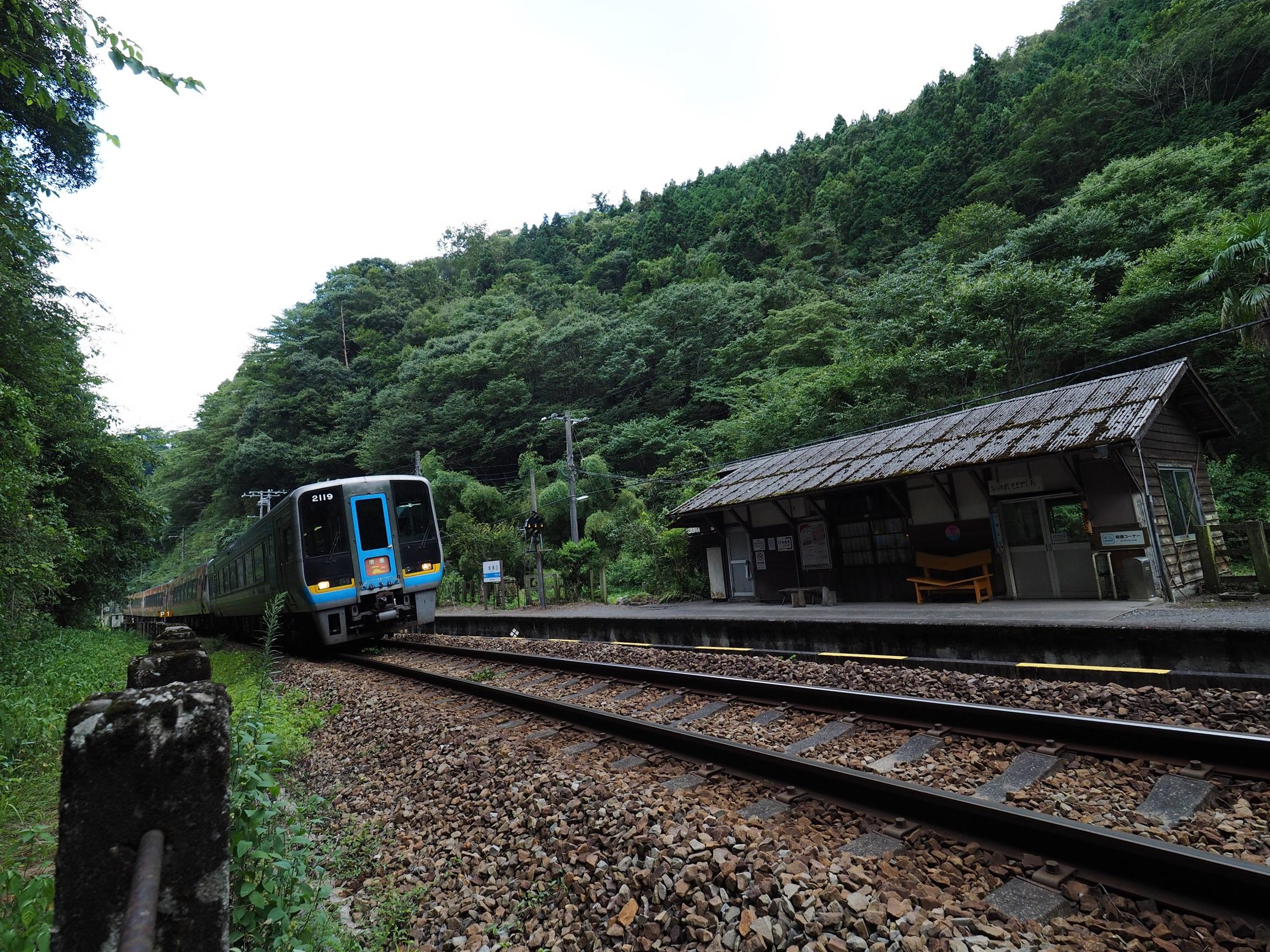 坪尻駅を通過する特急南風2
